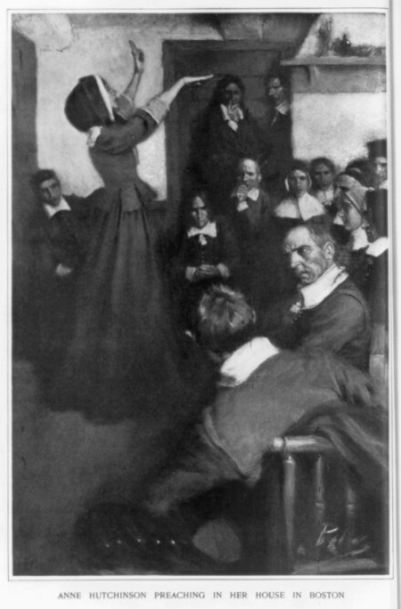Unknown artist. Anne Hutchinson Preaching in Her House in Boston. From Harper's Monthly, February 1901. Library of Congress, Prints and Photographs Division, Washington, D.C. LC-USZ62-53343