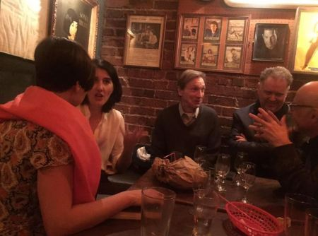 After the reading at Specs Bar, Columbus Avenue. Anastasia Edel, Alissa Valles, Leonard Gardner, Eddie Muller. Photo Courtesy PFLA Newswire.