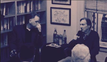 Leonard Gardner (right), in Conversation with Eddie Muller at City Lights Books, September, 2015.  Photo Courtesy PFLA Newswire. (2)