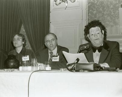 "Barbara Gittings, Franklin Kameny and John E. Fryer as ""Dr. H. Anonymous"" at a 1972 dialogue discussing psychiatry and homosexuality. (Wikipedia)"