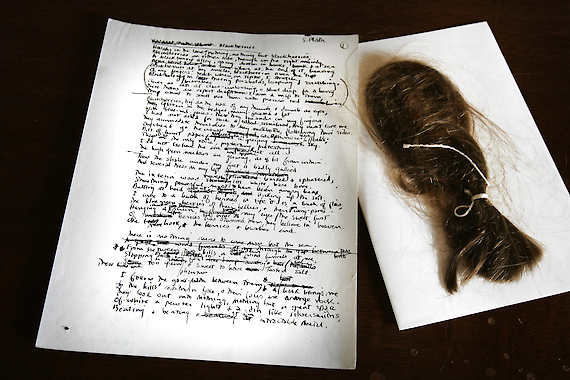 "Sylvia Plath's ""Blackberries,"" along with a piece of the her hair, from the Lilly Library collections at Indiana University. (Frank Espich/The Indianapolis Star/AP)"