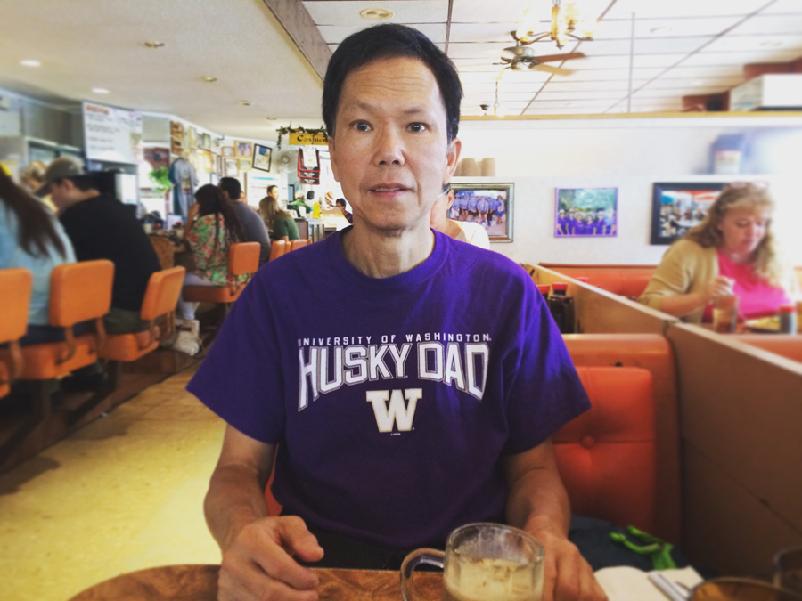 George Liu in his Husky t-shirt in Hawaii. (Photo by Assunta Ng/NWAW)