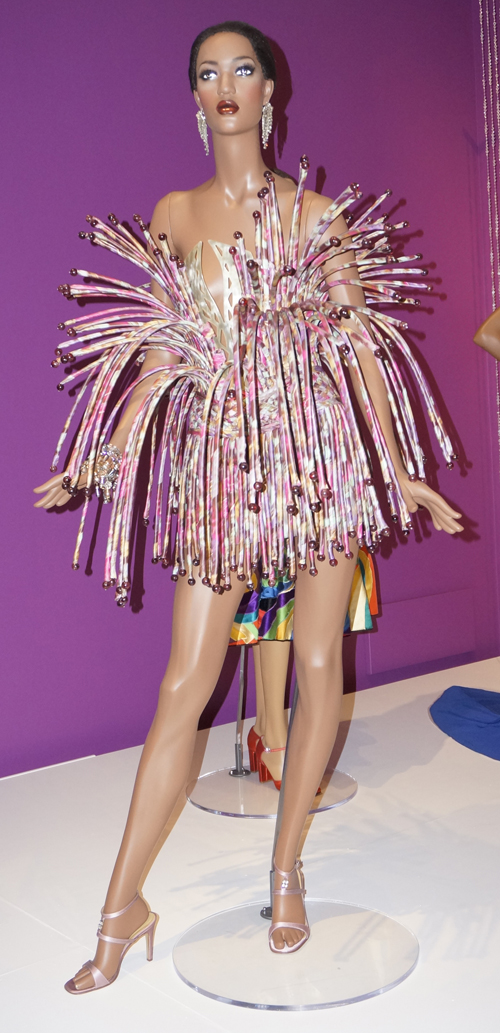A cocktail dress made out of flexible tubing covered in fabric, designed by Tilmann Grawe. (Photo by George Liu/NWAW)