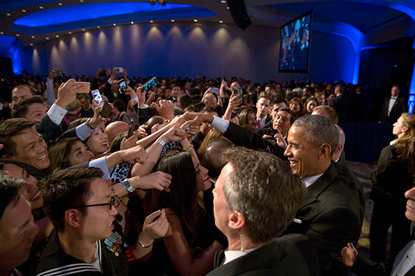 President Obama meeting the crowd at the 22nd annual APAICS Awards Gala. (Photo credit: The White House)