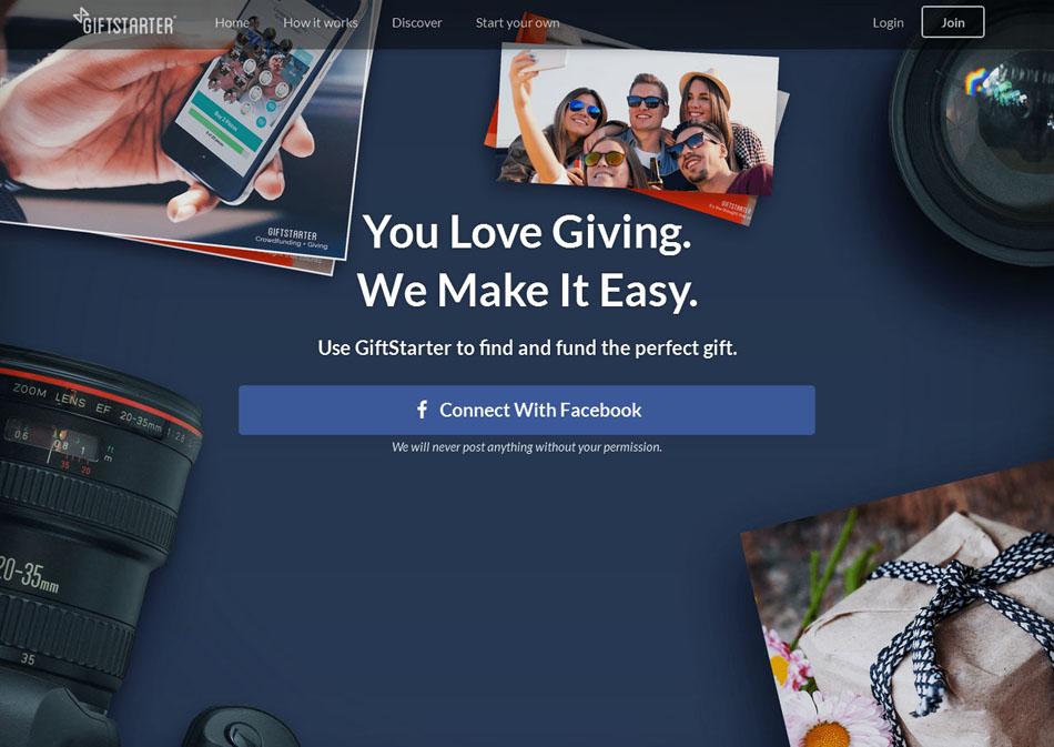 Screencap of giftstarter.com
