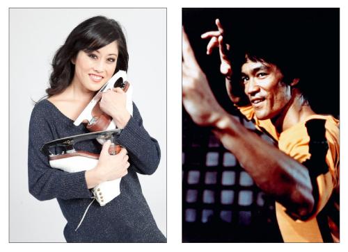 Kristi Yamaguchi (left) and Bruce Lee