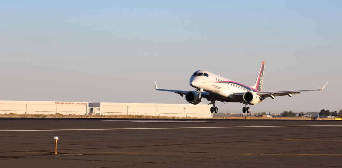 The first MRJ flight test article landed at Moses Lake, Wash., on Sept. 28. (Photo: Mitsubishi Aircraft)