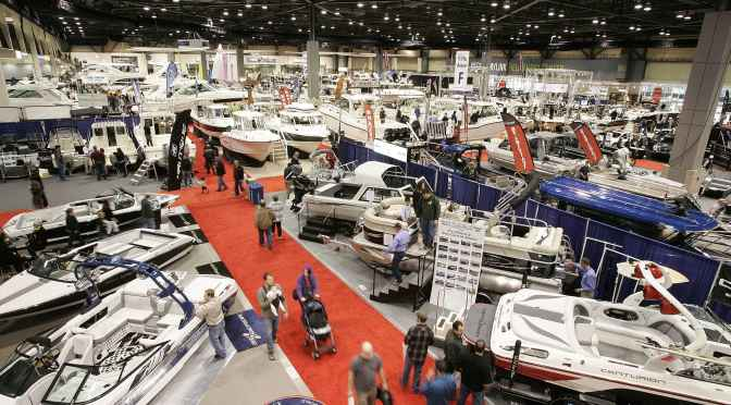 SEATTLE BOAT SHOW GOERS PROWL THE AISLES AT THE CENTURYLINK FIELD EVENT CENTER. (SEATTLE BOAT SHOW)