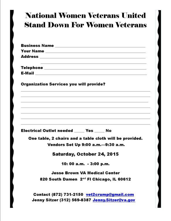 NWVU Stand Down 2015 Vendor Form