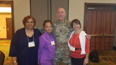 NWVU members Rochelle Crump and Col (Ret) Dr Sandra Webb-Booker and Mrs Dire wife of Major General Dire take time from FRG training in Oklahoma for photo with LT General Luckey.