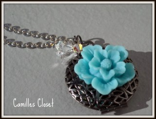 Perfume and Flower Locket necklace