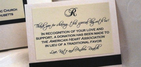 Monogrammed Donation Favor Card