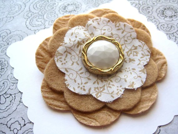 camel flower brooch