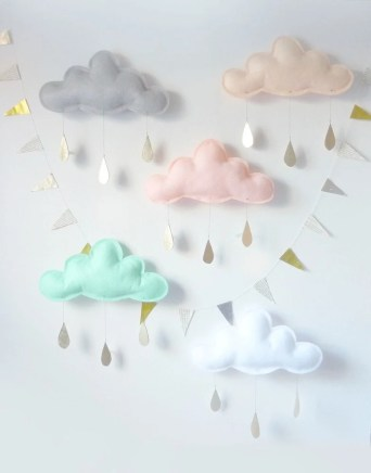 Spring Whimsical rain Cloud Mobile for nursery by The Butter Flying