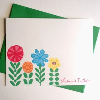 Funky and  Mod Garden - Set of 8 CUSTOM Personalized Note Cards