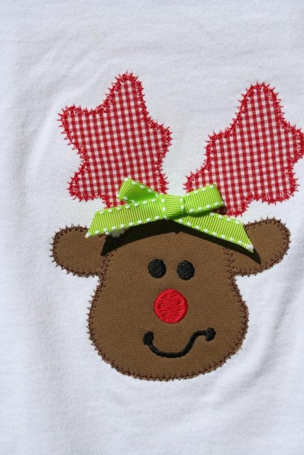 PERSONALIZED FREE Reindeer Christmas Red Nose Rudolph Applique Tee T  Shirt Boys or Girls FREE SHIPPING