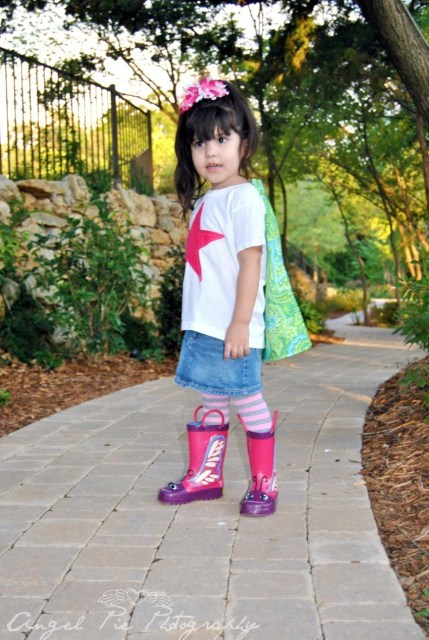 SUPER lil diva pink STAR green blue paisley cape tee size 2-4S