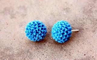 Vintage inspired chrysanthemum earrings -- sterling silver posts