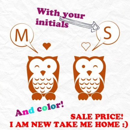 Whoo is in Love Custom Initials Owl Wall Decal Vinyl Art Graphics