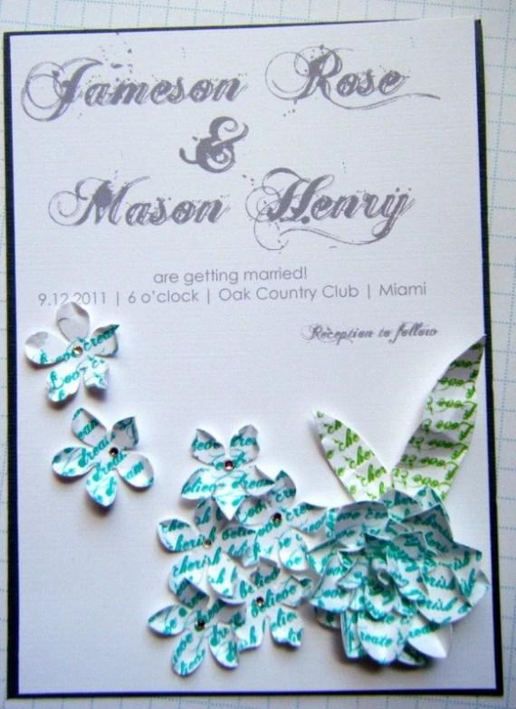 Handmade Paper Flower Invite