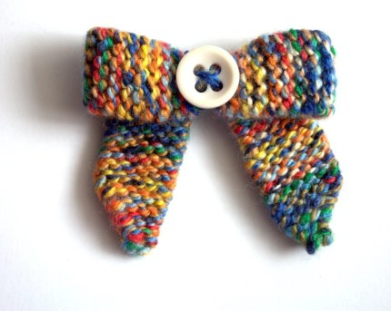 Vintage Button Bow Brooch