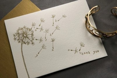 Dandelion  Thank You Cards (letterpress) set of 10