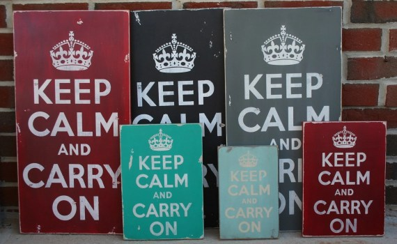 Keep Calm and Carry On - Large Distressed Sign in Crimson Red