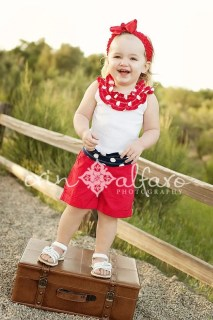 Boutique 4th  of July Girls Red, White and Blue Ruffle Boy Beater Tank Size 12mo - 8