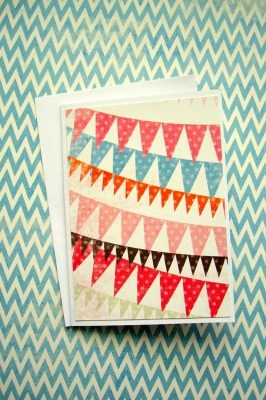 Vintage Pennant Card - Happy Birthday - Blank Card - For any Occasion - Ready to Ship