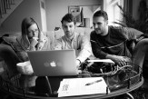 Producers Michaela, Josh & Ed going over details