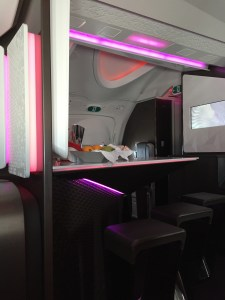 The bar at the entrance to Upper Class, Virgin Air