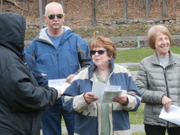 Reading poems to dedicate the new trees in Otisville's Veterans Memorial Park.