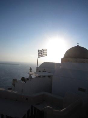 Greek Flag Oia Santorini