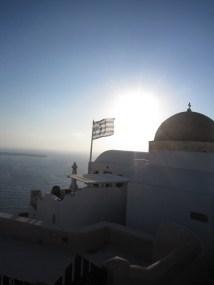 Greek Flag and Sunset Santorini