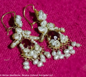 #1: Pearl, red glass, 10K gold dangle earrings with French wires. $265.