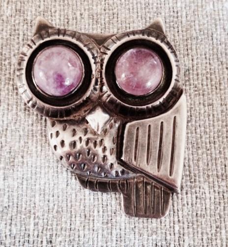 1950's vintage Spratling owl pin with amethyst eyes