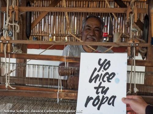Pedal loom weaver Arturo Hernandez, San Pablo Villa de Mitla, Oaxaca
