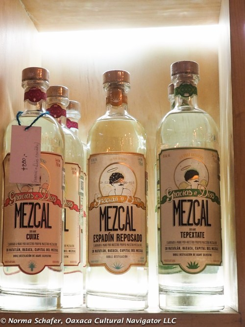 Gracias a Dios bottles espadin, plus the wild mezcales cuixe and tepeztate.