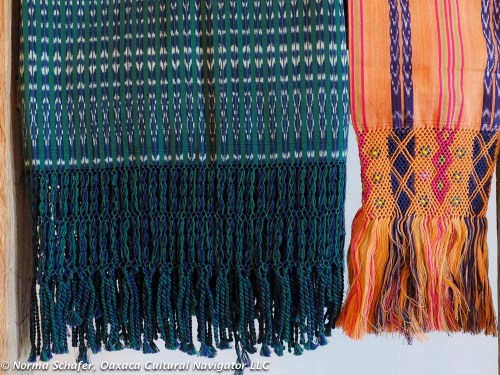 Blue-Green rebozo (left), $125 + shipping.