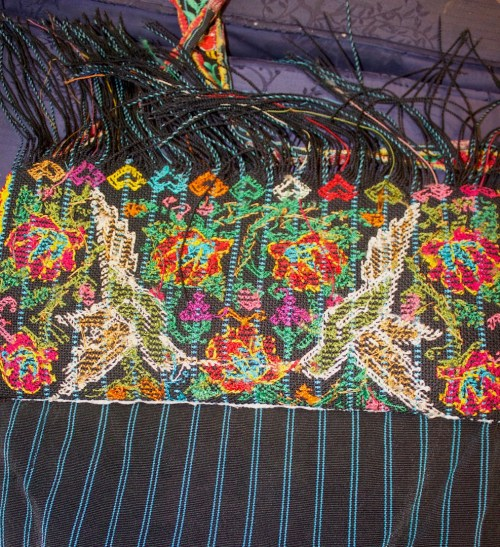 Underside of knotted and embroidered Chatino bag, from Barbara Cleaver