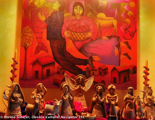 Oaxaca clay nativity scene, private collection
