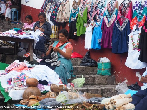 Vendors on the steps leading up to the market, Cuetzalan, Puebla