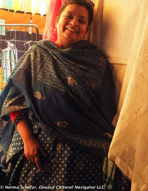 India's sari, block print with gold and indigo