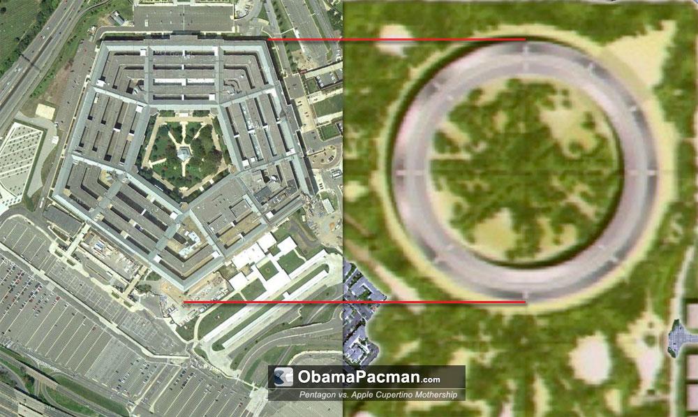apple cupertino campus mothership plan vs pentagon office