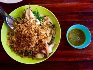 Shrimp with Gratin vegetables and coconut milk sauce