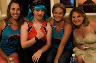 Sue Artz with Kill Devil Derby Brigade players Lauren, Amy, and Sabrina on the set of the OBX Entertainment series 'OBXE TV' on May 20, 2015. (photo by Matt Artz for OBXentertainment.com)