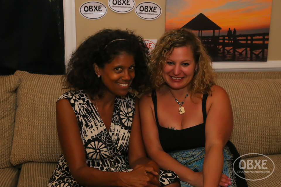 Courtney Gallop with Sue Artz on the set of the OBX Entertainment original series 'OBXE TV' on May 31, 2017. (photo by Matt Artz for OBX Entertainment)