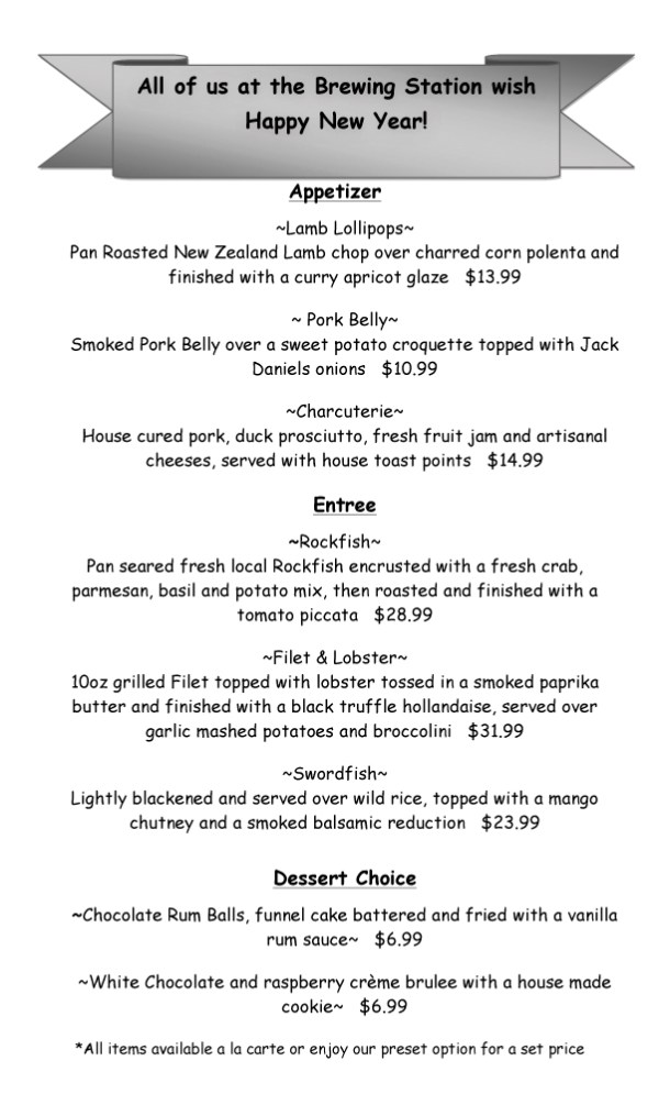 Outer Banks Brewing Station New Year's Eve 2014 menu