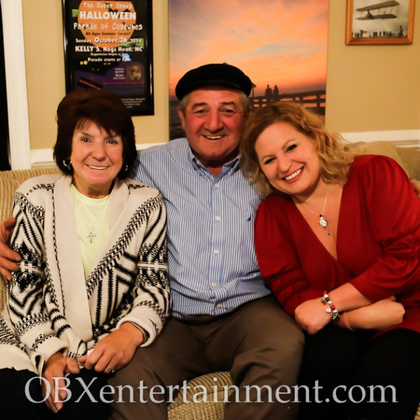 Outer Banks Christmas House owners Ann and Jim Poulos with Sue Artz on the set of the OBX Entertainment original series 'OBXE TV' on November 24, 2014. (photo by Matt Artz for OBXentertainment.com)