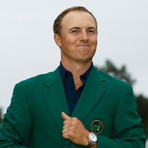 U.S. GOLFER JORDAN SPIETH SMILES APRIL 12 AS HE WEARS HIS CHAMPION'S GREEN JACKET ON THE PUTTING GREEN AT THE AUGUSTA NATIONAL GOLF CLUB IN GEORGIA AFTER WINNING THE MASTERS GOLF TOURNAMENT. THE 21-YEAR-OLD GOLFER ATTENDED ST. MONICA'S CATHOLIC SCHOOL IN DALLAS AND GRADUATED IN 2011 FROM JESUIT COLLEGE PREP IN DALLAS. / PHOTO: CNS PHOTO/BRIAN SNYDER, REUTERS
